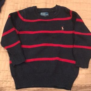 Toddler 3/3T Polo navy and red stripe sweater